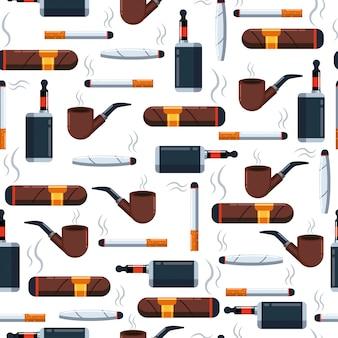 壁紙、ラッピング、パッキング、および背景に白のタバコのシームレスなパターン。