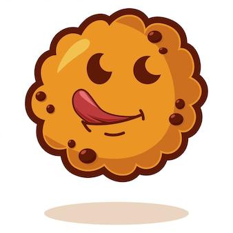 舌で漫画のクッキー。かわいいビスケットのキャラクター。白で隔離の図。かわいい顔の感情。
