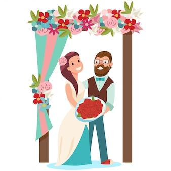 新郎新婦と花の結婚式のアーチ。白で隔離されるブライダルブーケと新婚カップルの漫画イラスト。