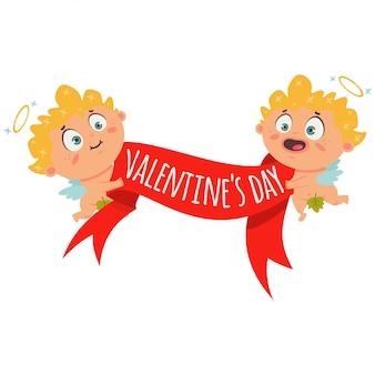 赤いバナーリボンとテキスト「バレンタインデー」のカップルキューピッド。孤立したの漫画イラスト。
