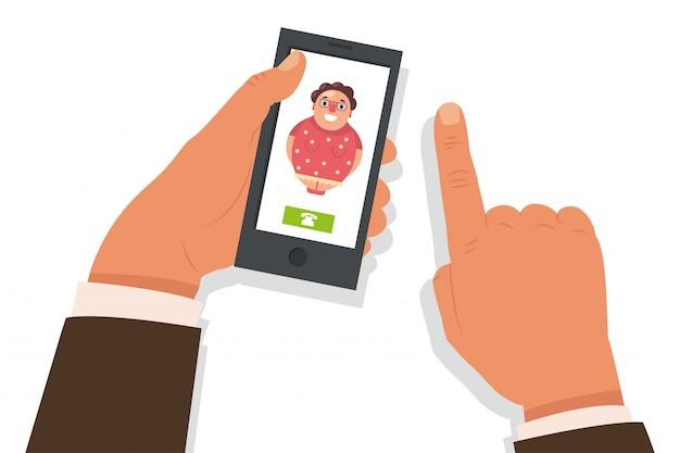 Позвони маме . мультфильм плоская иллюстрация с мобильным телефоном в руке и входящий звонок от старухи.