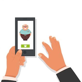 Позвони папе. мультфильм плоская иллюстрация с мобильным телефоном в руке и входящий звонок от старика.