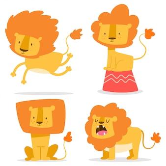 Милый лев простой векторный мультфильм набор