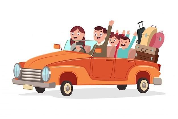 レトロな車で幸せな家族旅行。