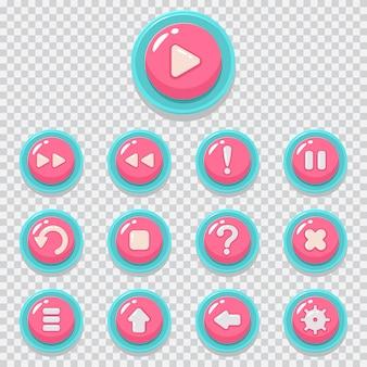 Установленные значки вектора шаржа кнопки игры. веб-элемент для мобильного приложения, изолированных на прозрачном фоне.