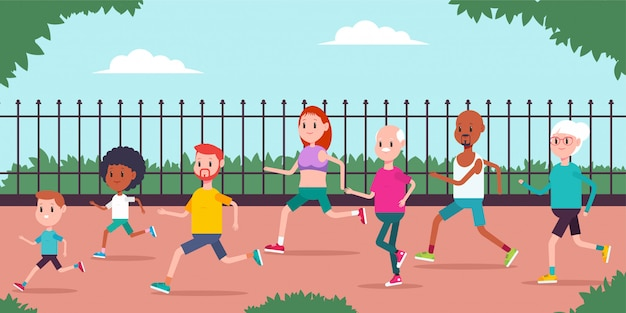 Семейная пара с детьми, родителями и друзьями бегает по парку. мультяшный бег людей характер.