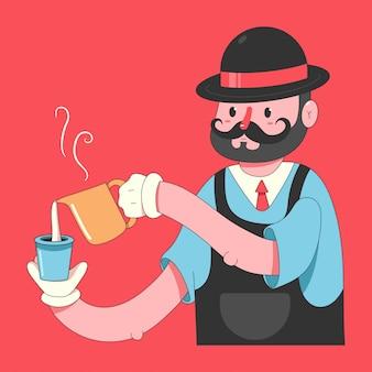 Бариста с чашкой кофе и молоко мультипликационный персонаж изолирован