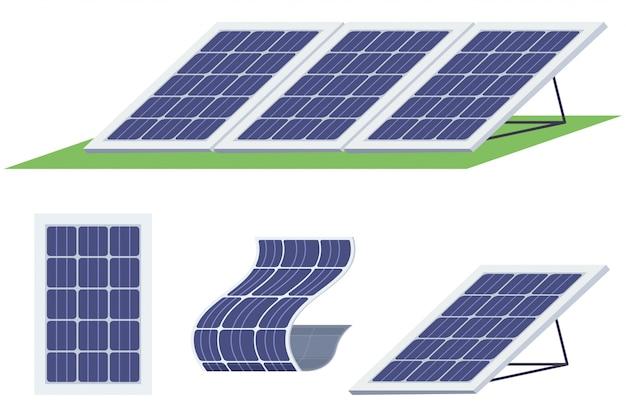 ソーラーパネルセット。さまざまな形の太陽エネルギー電池