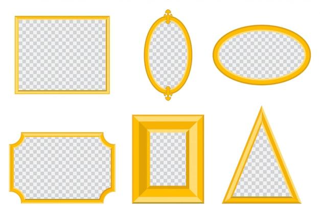 さまざまな形のシンプルなゴールドフォトフレーム