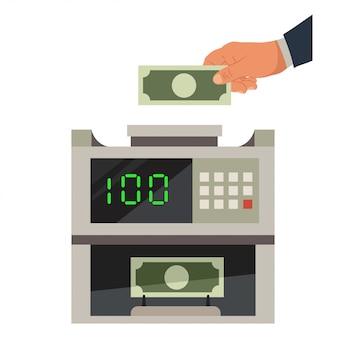 お金の計数機と男の手はドル紙幣を保持します。