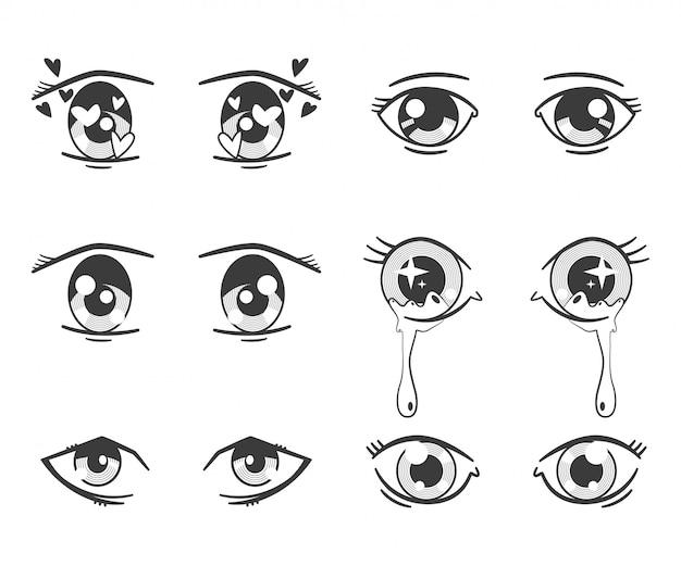 表情の異なるアニメの目。白で隔離される黒いシルエットアイコンセット