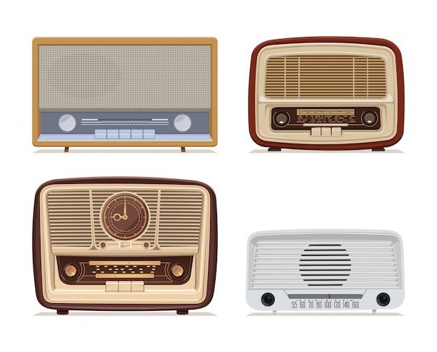 ラジオのレトロセット。オールドラジオ前世紀の古いラジオ受信機のイラスト