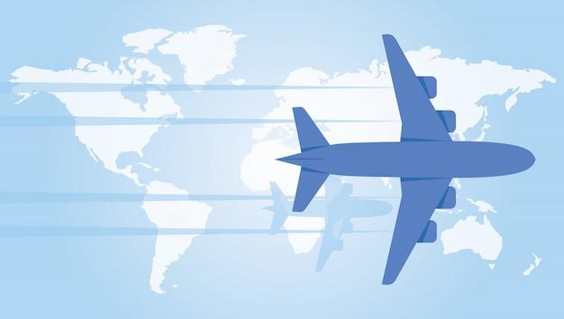 世界地図上にホバリングしている飛行機