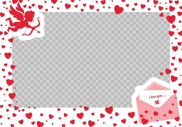 バレンタインデーフォトフレーム。エレガントでスタイリッシュなロマンチックなフレームのベクトルイラスト。