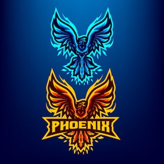 Иллюстрация талисмана птицы феникс для спорта и киберспорта логотип, изолированных на темно-синем фоне