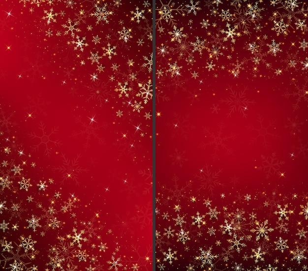 ゴールドスノーフレークと輝きを身に着けているクリスマスカードの背景