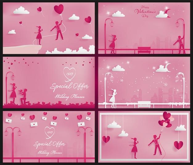 ペーパークラフトスタイルとしてピンクをテーマにした甘いカップルの背景のセット
