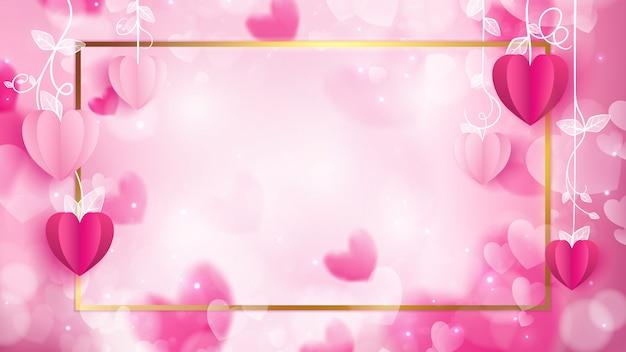 バレンタインフレームはハート形としてペーパークラフトで構成されています