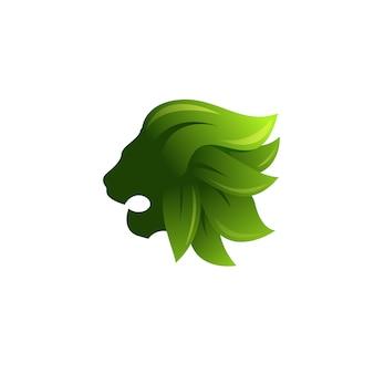 Лев и логотип листьев