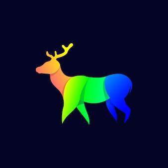 現代のカラフルな鹿イラストデザインのベクトル