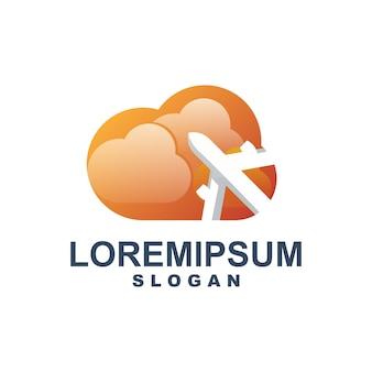 Облако с плоским логотипом