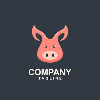 Голова свинья шаблон логотипа