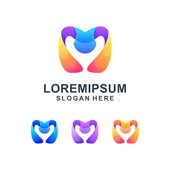 Красочная абстрактная буква м логотип