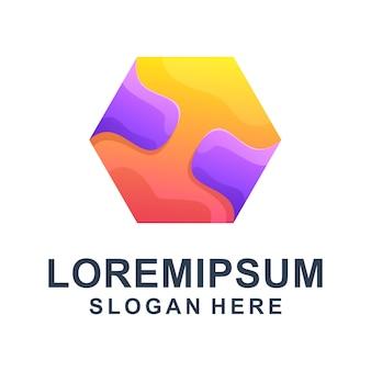 Красочный шестиугольный абстрактный логотип премиум