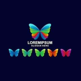 カラフルな蝶のロゴプレミアム