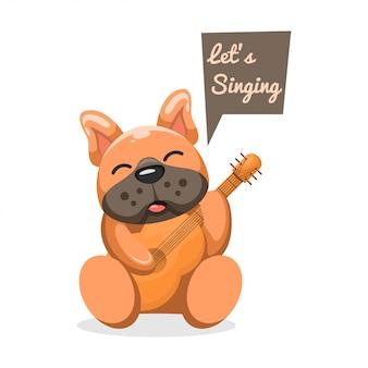 Очаровательная собака играет на гитаре мультфильм