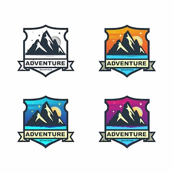 Красочный горный приключений значок логотипа дизайн набор