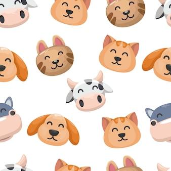 Бесшовный образец с милым животным, кроликом, медведем, коровой, кошкой и бегемотом. голова животного фона.