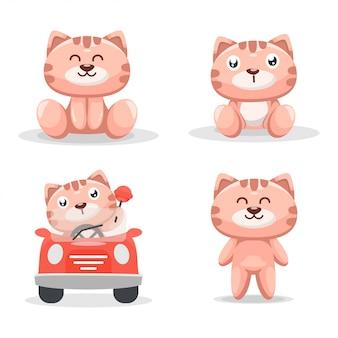 Милый котенок мультфильм талисман премиум