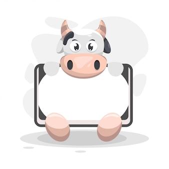 Симпатичная корова с белой коробкой