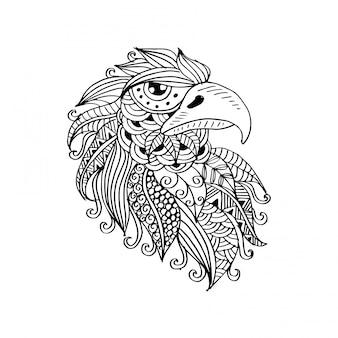 手の描かれた鷲の頭。