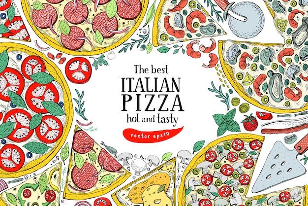ベクトルイタリアピザトップビューカラフルなフレーム。食品バナーデザインテンプレート。