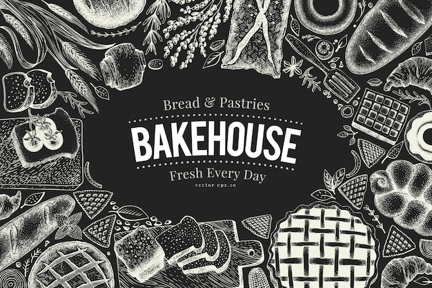 チョークボード上のベーカリートップビューフレーム。パンとペストリーの手描きの背景イラスト。
