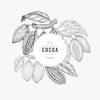 Какао-бобов дерево баннер шаблон.