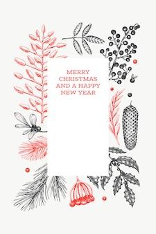クリスマス手描きグリーティングカードテンプレート。