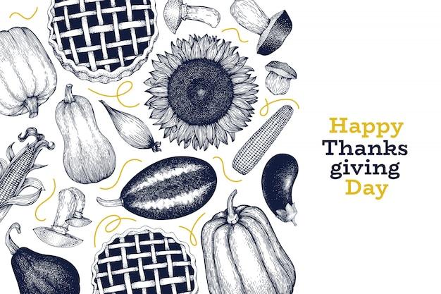 幸せな感謝祭のデザインテンプレート。ベクターの手描きイラスト。レトロなスタイルの感謝祭のグリーティングカード。