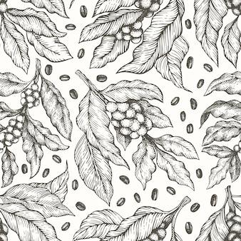 コーヒーの木の枝のシームレスなパターン。ビンテージコーヒー刻まれたスタイル。