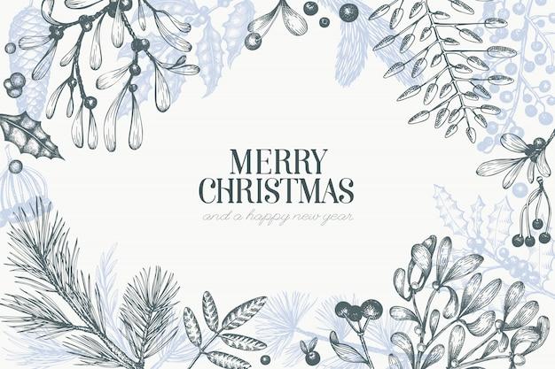 メリークリスマス手描きの背景グリーティングカードテンプレート。ビンテージスタイルの図
