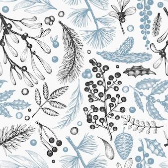 クリスマスのシームレスなパターン。手描きベクトル冬植物。針葉樹、ヒイラギ、ヤドリギのデザイン