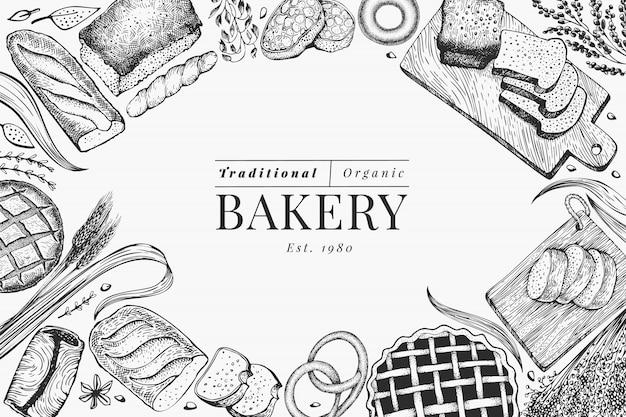 パンとペストリーのフレームの背景。ベクトルベーカリー手描き下ろしイラスト。ビンテージデザインテンプレート。