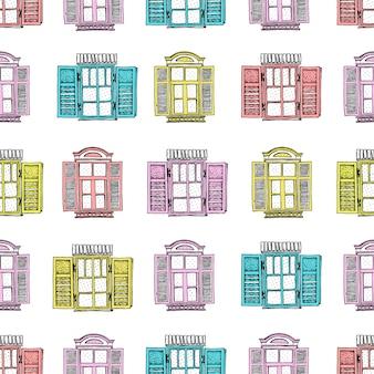 レトロな窓のシームレスパターン。手描きのイラスト