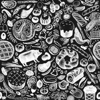 イースターディナーのシームレスパターン