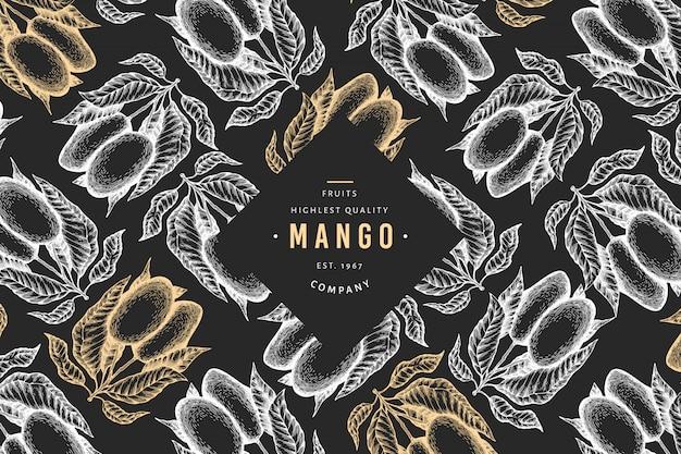Манго баннер. нарисованная рукой иллюстрация экзотического плодоовощ на доске мела.
