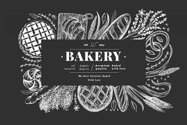 パンとペストリーのバナー。パン屋さんは、チョークボードに描かれたイラストを手します。