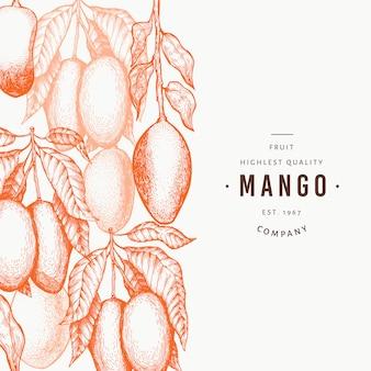 Манго шаблон. нарисованная рукой иллюстрация тропического плодоовощ.