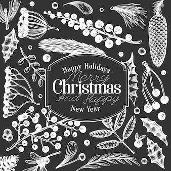 クリスマスバナーテンプレート。チョークボードに描かれたイラストを手します。